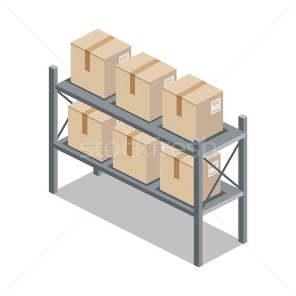 Isometric 3d Shelf with Cartoon Box Stock photo © robuart
