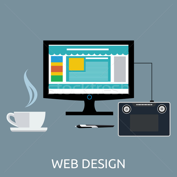 Web Design Graphic Tablet and Tool Stock photo © robuart