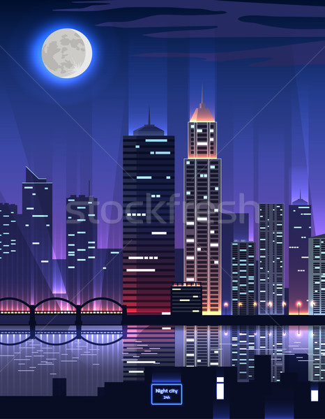 Night City. Megapolis High Skyscrapers Stock photo © robuart