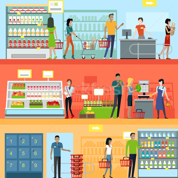 People in Supermarket Interior Design Stock photo © robuart