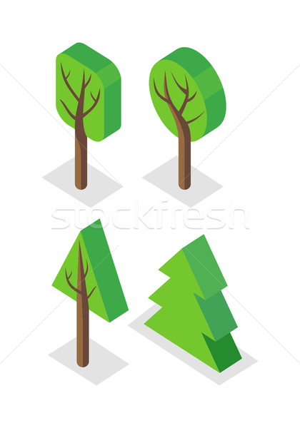 Green Tree Set Icons Stock photo © robuart