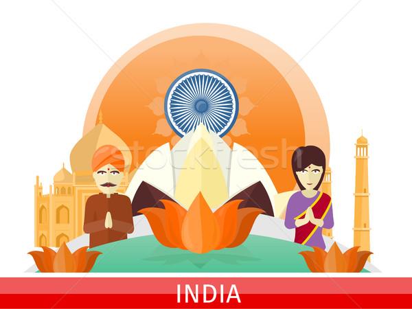 Hindistan seyahat poster turizm dizayn zaman Stok fotoğraf © robuart