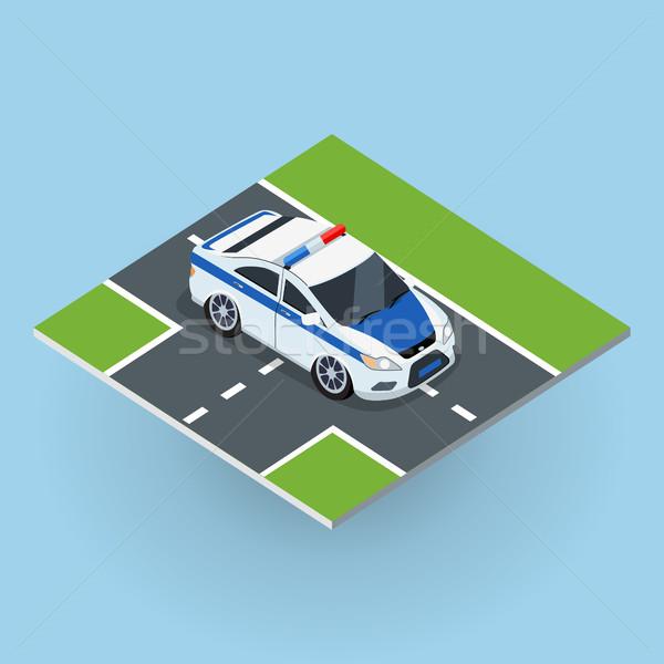 Politie auto illustratie isometrische projectie weg Stockfoto © robuart