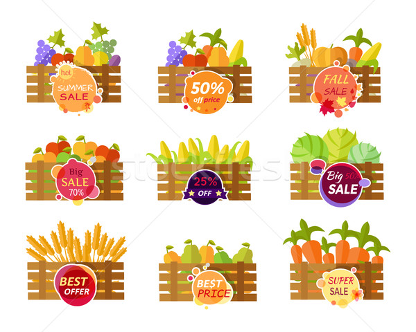 Set of Stickers Grocery Sale Fruits and Vegetables Stock photo © robuart