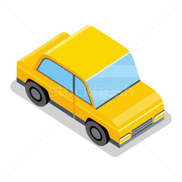 ストックフォト: 黄色 · 車 · アイコン · 市 · 影 · サービス