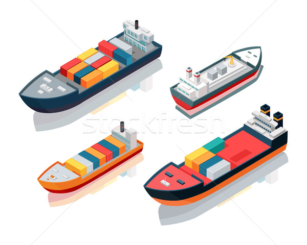 Set of Seagoing Cargo Ships Feeder Vessels. Vector Stock photo © robuart