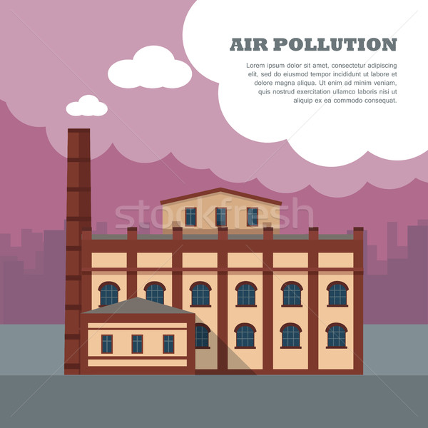 Stock photo: Air Pollution Banner. Factory with Smog Pipes