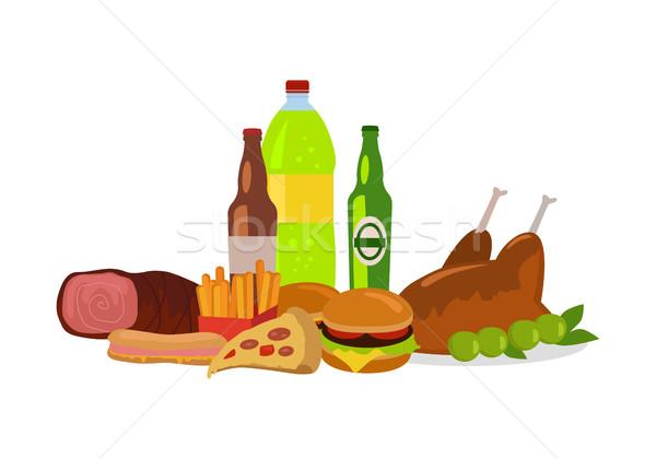 Alimentos não saudáveis bandeira isolado branco consumo Foto stock © robuart
