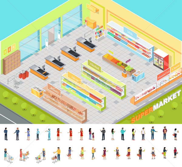 Supermarket Interior in Isometric Projection. 3D Stock photo © robuart