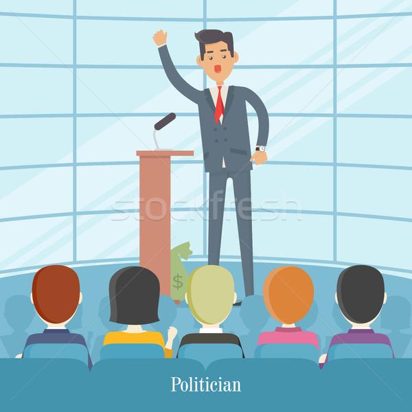 Político audiencia vector hablar bolsa dinero Foto stock © robuart