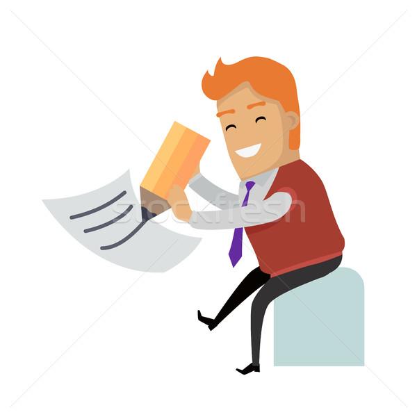 Piśmie list wektora projektu uśmiechnięty człowiek Zdjęcia stock © robuart
