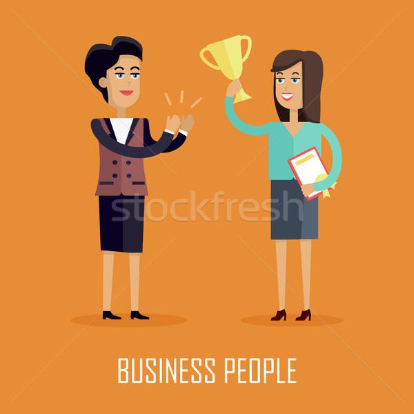 деловые люди вектора дизайна стиль успешный женщину Сток-фото © robuart