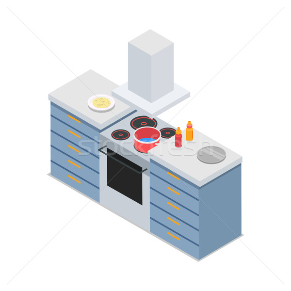 Four-Burners Cooker Isolated At Restaurant Kitchen Stock photo © robuart