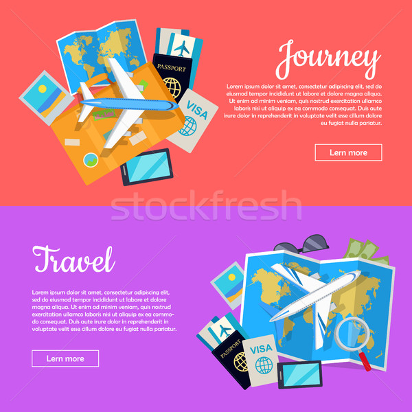 Journey and Travel Banner. Tourist Attributes Stock photo © robuart