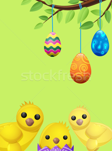 Set of Easter Chicken and Suspended Color Eggs Stock photo © robuart