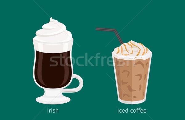 Irish and Iced Coffee Drinks Cartoon Illustration Stock photo © robuart