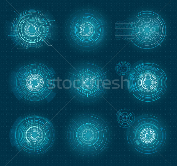Set of Blue Infographic Elements Interface Virtual Stock photo © robuart