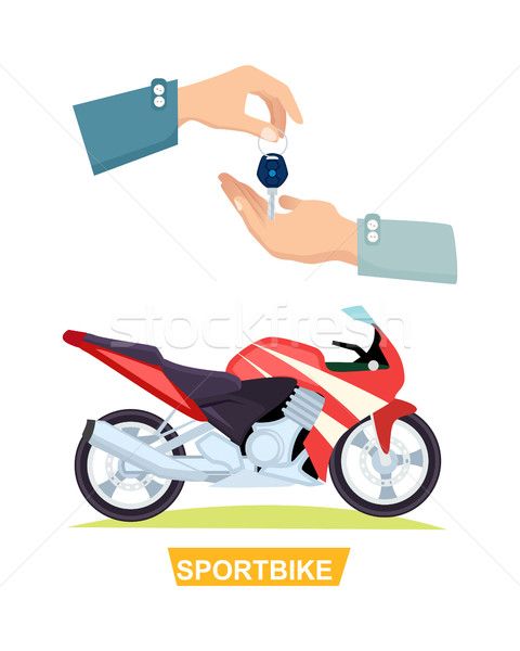 Hand Passing Key. Process of Buying Sportbike Stock photo © robuart