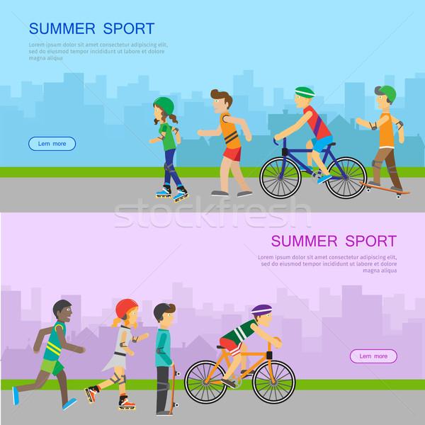 Verão esportes vetor teia bandeira projeto Foto stock © robuart
