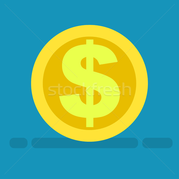 Big Dollar Symbol on Gold Coin Icon Cartoon Style Stock photo © robuart