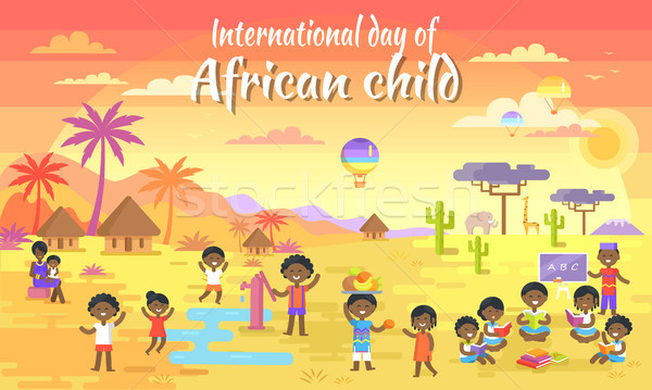 International Day of African Child Big Banner Stock photo © robuart