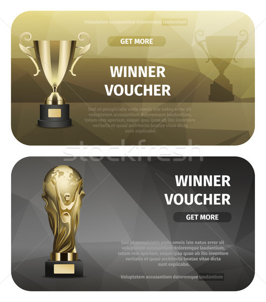 Two Cards of Winner Voucher with Golden Goblets Stock photo © robuart