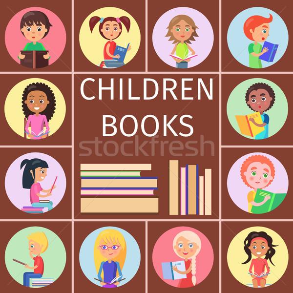 Stok fotoğraf: çocuklar · kitaplar · harfler · okuma · çocuklar