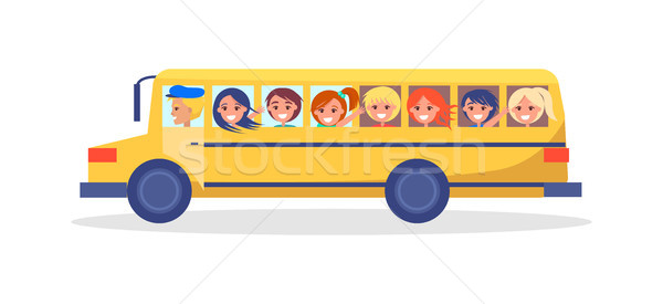 Yellow Trip Bus with Kids Going on Excursion Stock photo © robuart
