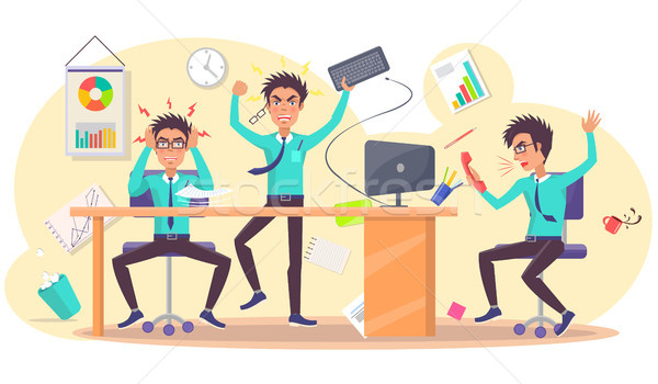 Angry Person at Work Vector of Annoyed Businessman Stock photo © robuart