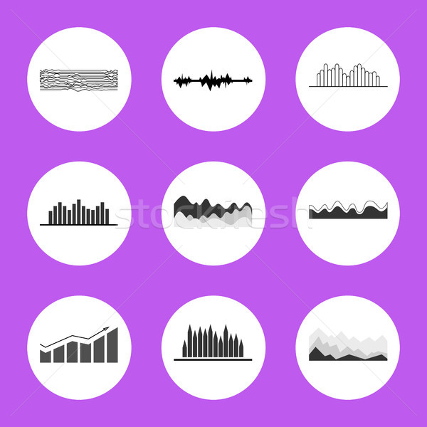 Black and White Charts and Graphics in Circles Stock photo © robuart