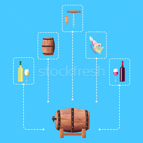 Wine Barrel and Connected Icon Vector Illustration Stock photo © robuart