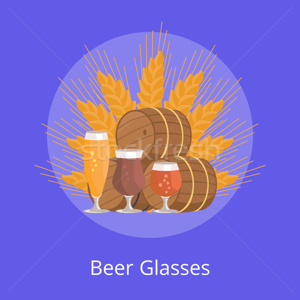 Beer Glasses Degustation Vector Illustration Blue Stock photo © robuart