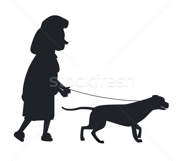 Chien guider silhouette vieille femme animal Photo stock © robuart