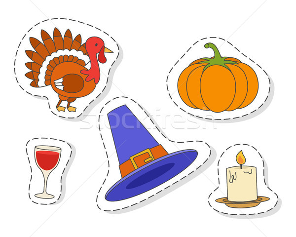 Thanksgiving Day Symbols stickers Flat Vector Set Stock photo © robuart