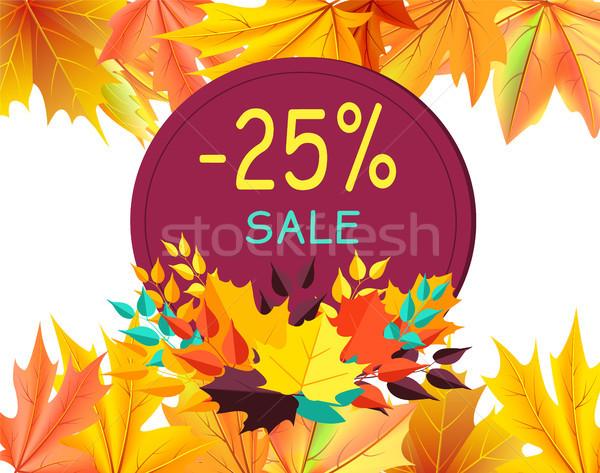 Outono desconto cartão de presente projeto bordo folhas Foto stock © robuart