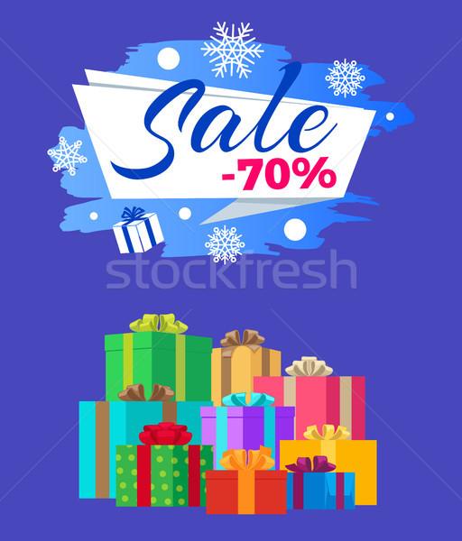 Foto stock: Venda · cartaz · etiqueta · presentes · decorado · flocos · de · neve