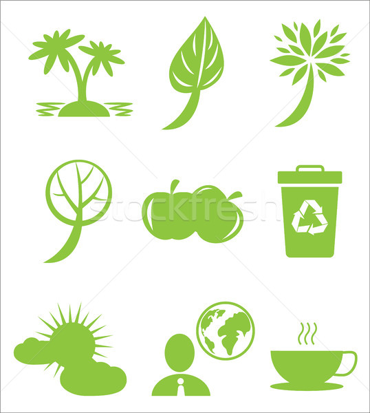 Ecology Protection Themed Green Flat Icons Set Stock photo © robuart