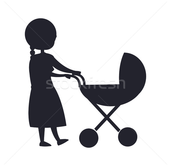 Happy Grandparent Senior Lady with Trolley Pram Stock photo © robuart