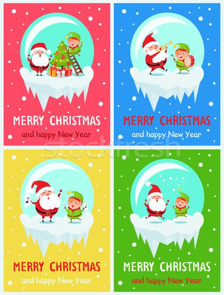 Vrolijk christmas grappig gelukkig nieuwjaar Stockfoto © robuart