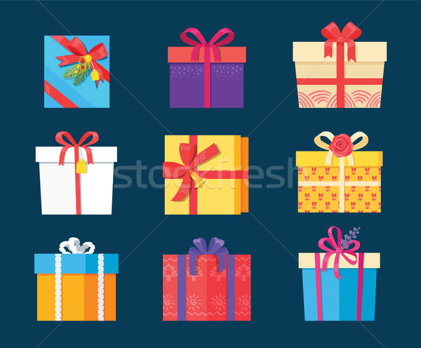 Set Gift Box Presents Wrapped Package Icons Vector Stock photo © robuart