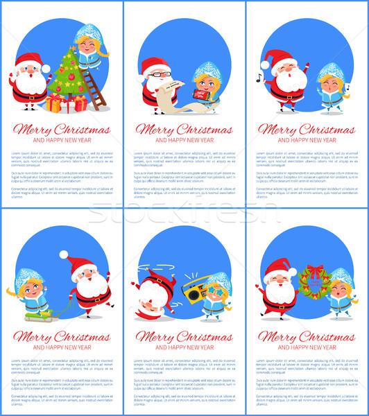 Merry Christmas Santa, Maiden Vector Illustration Stock photo © robuart