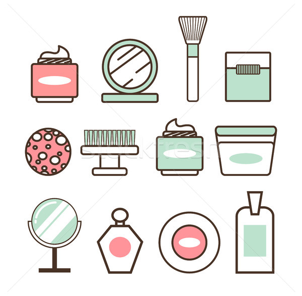 Beauty Tools and Means Minimalistic Illustrations Stock photo © robuart