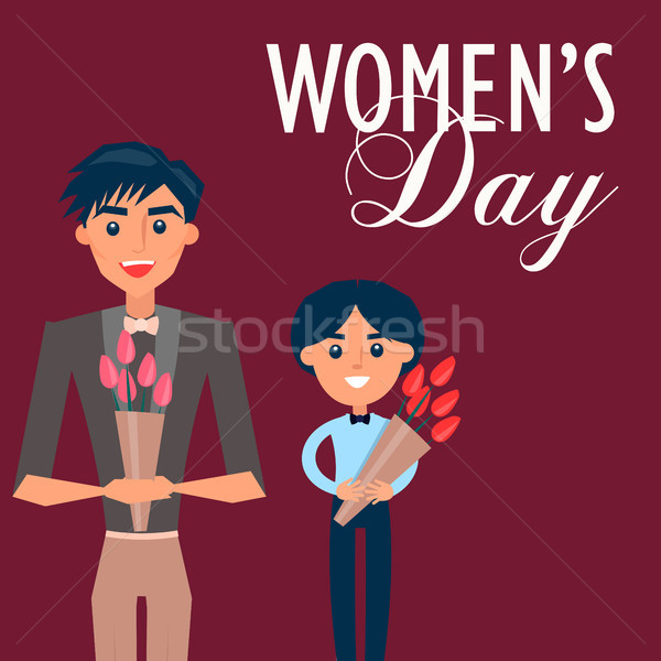 Man in Suit and Child Holds Flowers for Womens Day Stock photo © robuart