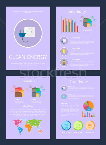 Four Clean Solar Energy Statistics Map Data Cards Stock photo © robuart