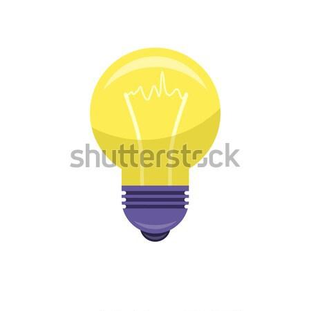 Jaune ampoule isolé blanche idée Photo stock © robuart