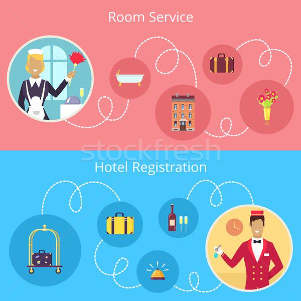 Szobaszervíz hotel regisztráció vektor poszter portás Stock fotó © robuart