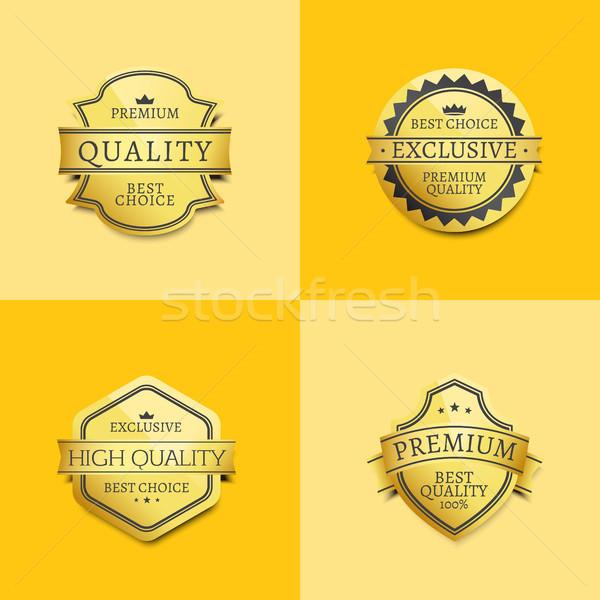 Ayarlamak prim kalite en iyi altın etiketler Stok fotoğraf © robuart