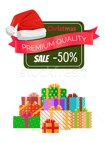 Premium Quality Christmas Sale Promo Sticker Hat Stock photo © robuart