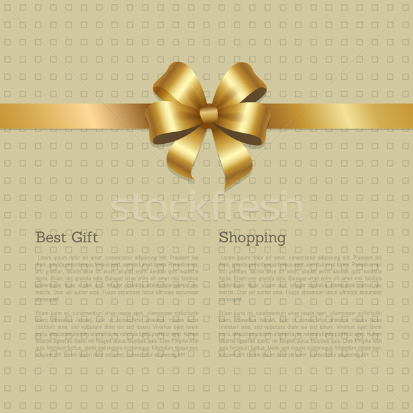Best Gift Shopping Certificate Decorated Gold Bow Stock photo © robuart