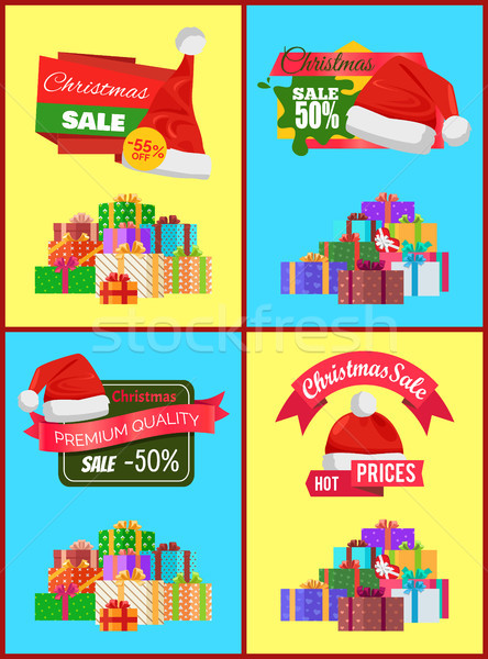 Set of Christmas Sale Promo Stickers Hats Labels Stock photo © robuart